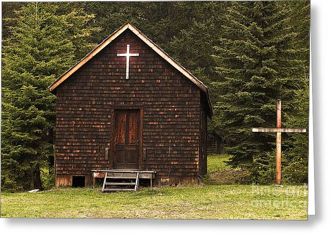 The Wooden Cross Greeting Cards - Spirit in the Woods Greeting Card by Sandi Mikuse