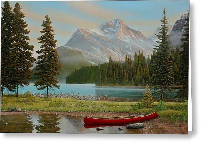 Canoe Paintings Greeting Cards - Spirit Island Escape Greeting Card by Jake Vandenbrink