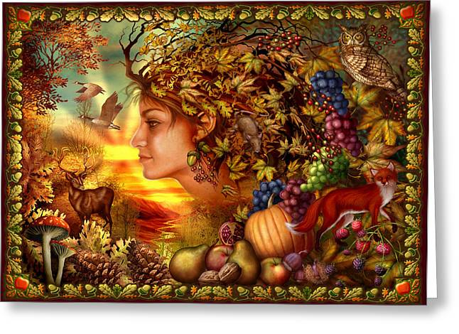 Grape Leaves Digital Greeting Cards - Spirit of Autumn Greeting Card by Ciro Marchetti