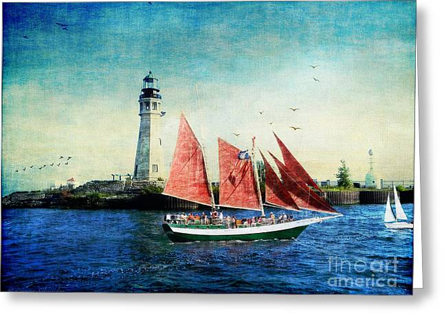 Boat Cruise Digital Greeting Cards - Spirit of Buffalo Greeting Card by Lianne Schneider