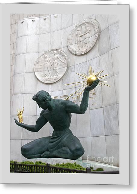 Ann Horn Greeting Cards - Spirit of Detroit Monument Greeting Card by Ann Horn