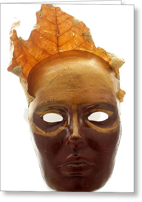 Eyes Sculptures Greeting Cards - Spirit of fall - papier mache  Greeting Card by Christian V Stanescu