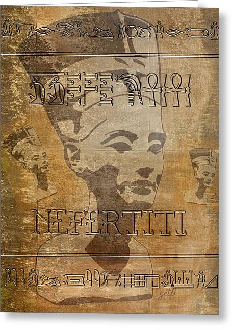 Pharaoh Digital Art Greeting Cards - Spirit of Nefertiti Egyptian Queen   Greeting Card by Georgeta Blanaru