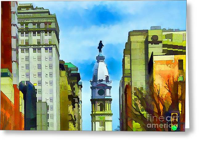 William Penn Hotel Greeting Cards - Spirit Of Philly Greeting Card by Robyn King