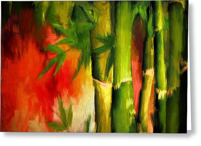 Shade Of Green Greeting Cards - Spirit Of Summer- Bamboo Artwork Greeting Card by Lourry Legarde