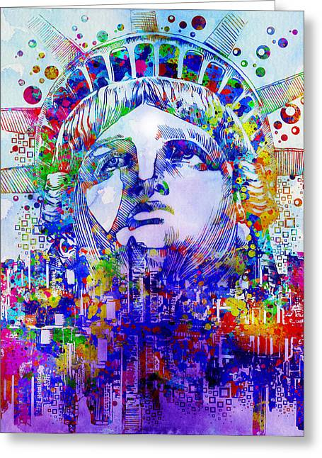 Recently Sold -  - Statue Portrait Greeting Cards - Spirit Of The City 2 Greeting Card by MB Art factory
