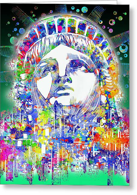 Statue Portrait Greeting Cards - Spirit Of The City 4 Greeting Card by MB Art factory