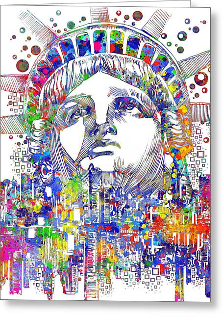 Statue Portrait Greeting Cards - Spirit Of The City Greeting Card by MB Art factory