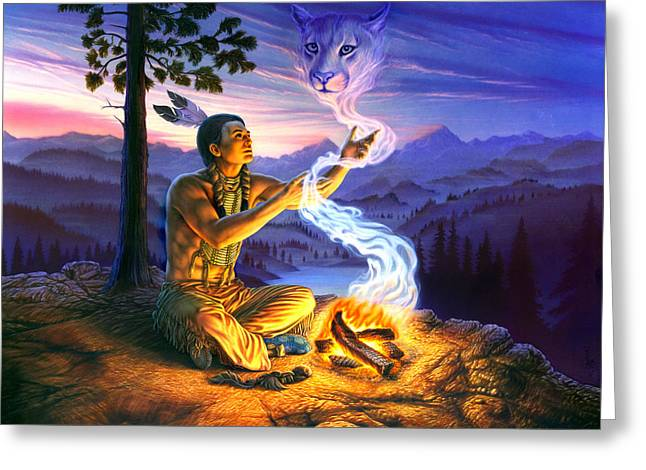 Shaman Greeting Cards - Spirit of the Cougar Greeting Card by Andrew Farley