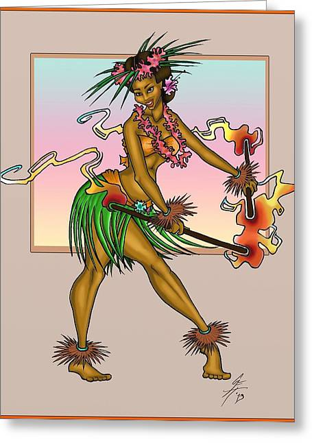 Dancing Girl Greeting Cards - Spirit of the Islands Greeting Card by Grace Ferguson-Hart
