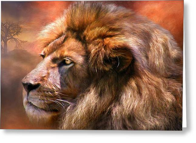 African Lion Art Greeting Cards - Spirit Of The Lion Greeting Card by Carol Cavalaris