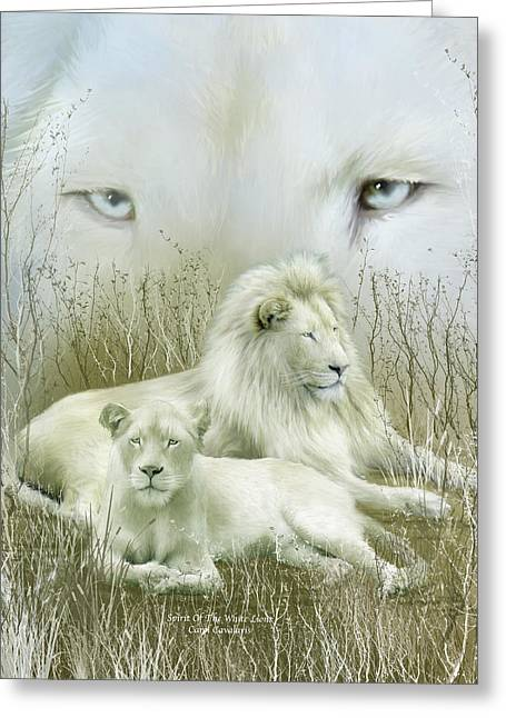 Spirit Of The White Lions Greeting Card by Carol Cavalaris