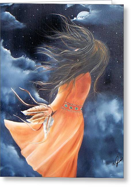 Girls Greeting Cards - Spirit of the Wind Greeting Card by Joni McPherson