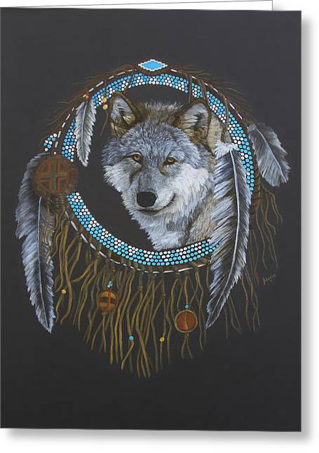 Native American Indian Medicine Wheel Greeting Cards - Spirit Of The Wolf Greeting Card by Johanna Lerwick