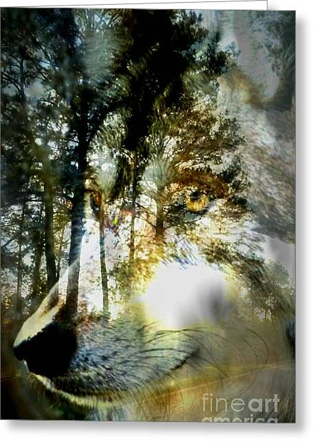 Forest Dweller Greeting Cards - Spirit of the Wolf Greeting Card by Maria Urso