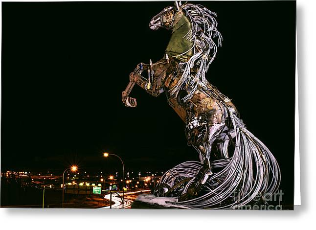 Welded Sculpture Greeting Cards - Spirit of Whitehorse Greeting Card by Melody Watson
