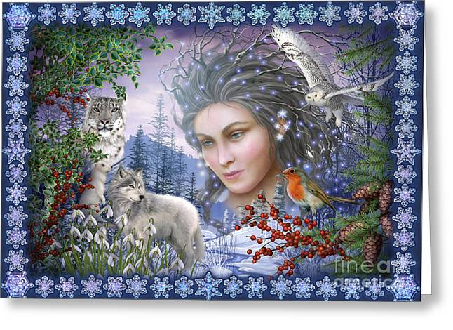 Woman Framed Prints Greeting Cards - Spirit of Winter Variant I Greeting Card by Ciro Marchetti