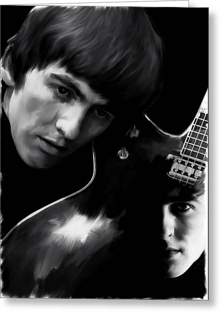 Main Street Greeting Cards - Spirit Play george harrison Greeting Card by Iconic Images Art Gallery David Pucciarelli