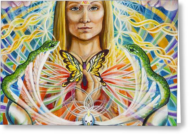 Spirit Portrait Greeting Card by Morgan  Mandala Manley