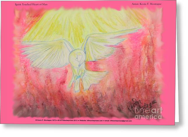 Dove Pastels Greeting Cards - Spirit Touched Heart of Man Greeting Card by Kevin Montague
