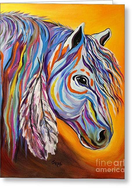 Black Painted Edges Greeting Cards - SPIRIT War Horse Greeting Card by Janice Rae Pariza