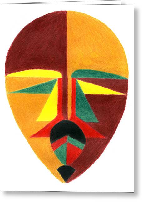 African-american Drawings Greeting Cards - Spirit Warrior Mask Greeting Card by Greg Roberson