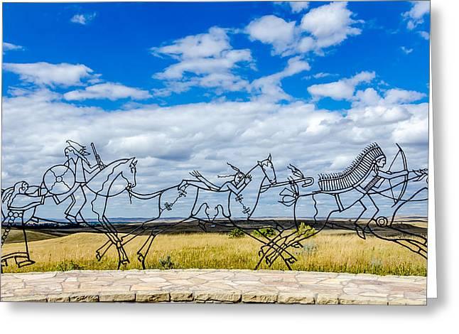 Indian Warrior Sculpture Greeting Cards - Spirit Warriors Indian Memorial Greeting Card by Debra Martz