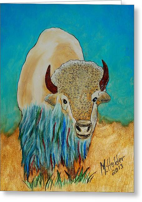 White Pyrography Greeting Cards - Spirit White Buffalo Greeting Card by Mike Holder
