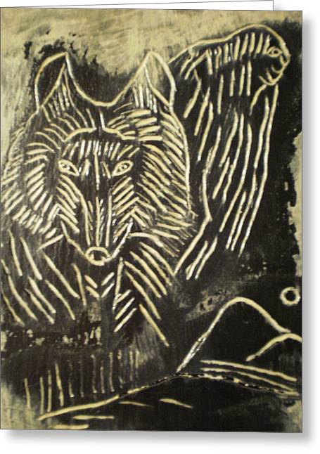 Animal Reliefs Greeting Cards - Spirit World On Black Osidian Carving Stone Greeting Card by Brunet Mario
