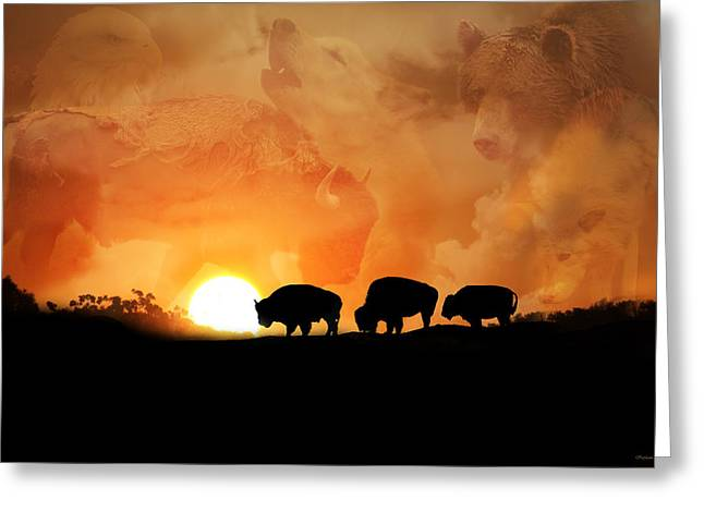 Buffalo Greeting Cards - Spirits in the Sky Greeting Card by Stephanie Laird
