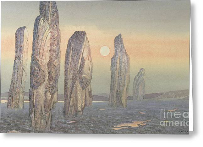 Built Paintings Greeting Cards - Spirits of Callanish Isle of Lewis Greeting Card by Evangeline Dickson