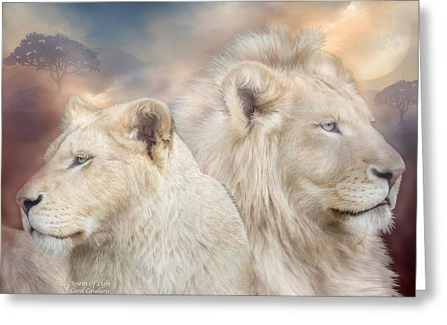 African Lion Art Greeting Cards - Spirits Of Light Greeting Card by Carol Cavalaris