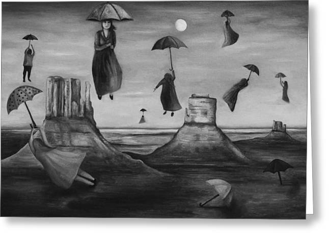 Umbrellas Greeting Cards - Spirits Of The Flying Umbrellas BW Greeting Card by Leah Saulnier The Painting Maniac