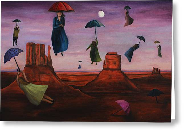Night Angel Greeting Cards - Spirits Of The Flying Umbrellas Greeting Card by Leah Saulnier The Painting Maniac