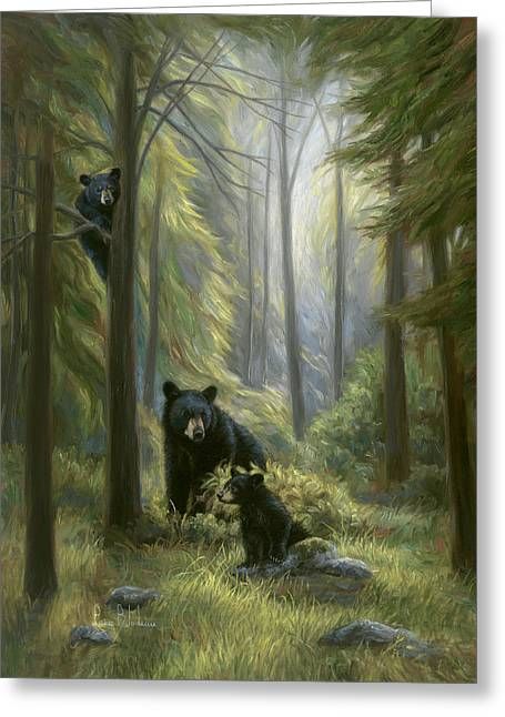 Black Bear Greeting Cards - Spirits of the Forest Greeting Card by Lucie Bilodeau