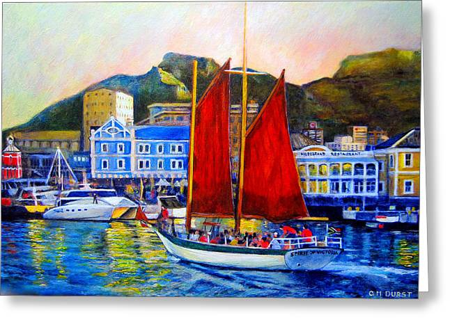 Cape Town Paintings Greeting Cards - Spirits Sunset Sail Greeting Card by Michael Durst