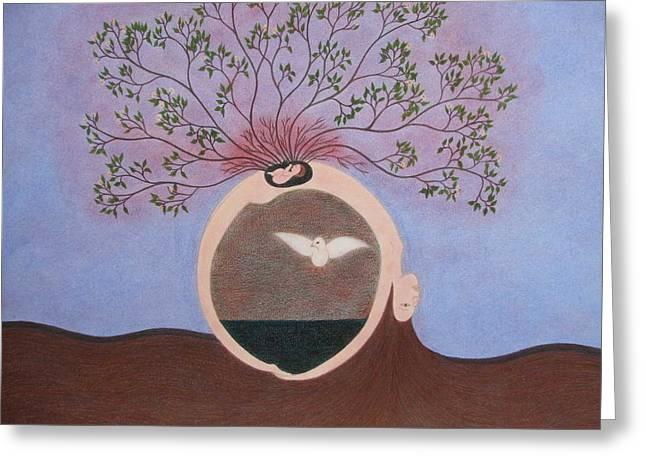 Spiritual Birth Greeting Card by Claudine Peronne