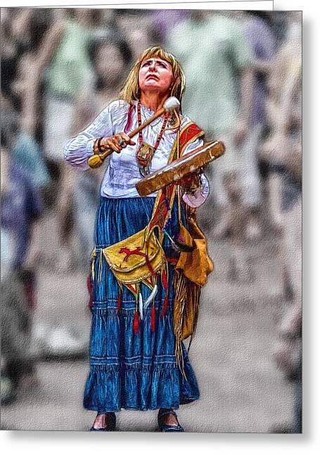 Carolina Greeting Cards - Spiritual Drums Greeting Card by John Haldane