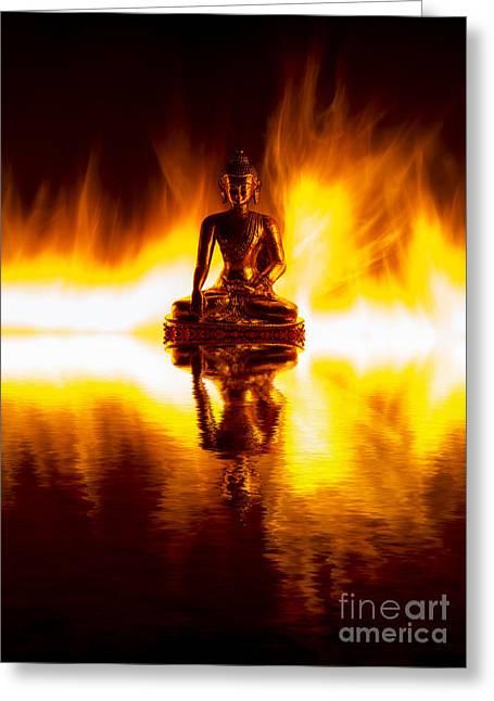Buddha Photographs Greeting Cards - Spiritual Fire Greeting Card by Tim Gainey