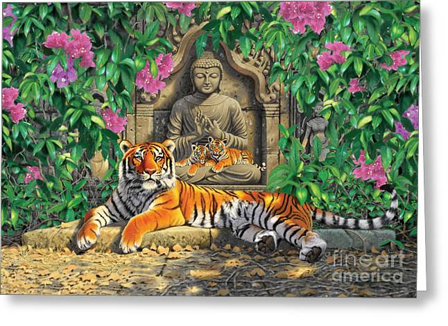 Young Tiger Greeting Cards - Spiritual Hideaway - Tigers Variant 2 Greeting Card by Chris Heitt