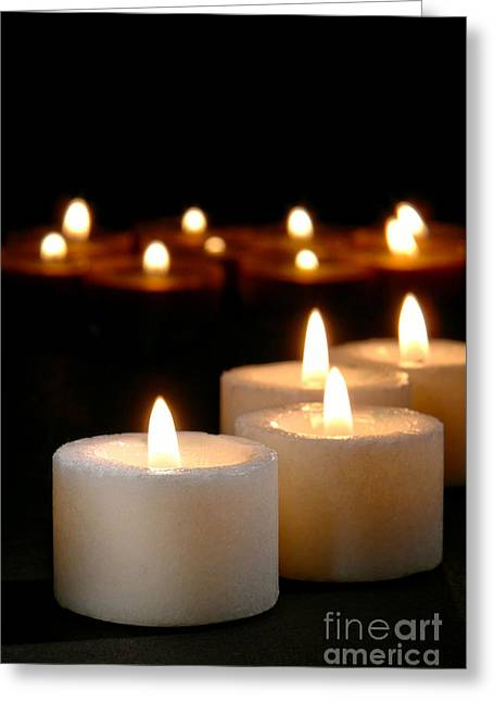 Prayer Service Greeting Cards - Spiritual Reflection Candles Greeting Card by Olivier Le Queinec