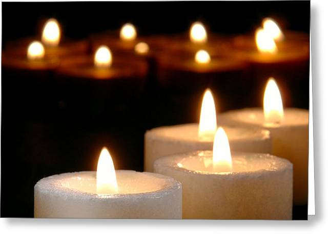 Spiritual Reflection Candles Greeting Card by Olivier Le Queinec