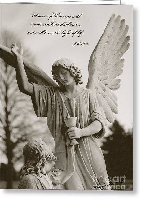 Bible Scripture Prints Greeting Cards - Spiritual Religious Angel Art With Jesus  Greeting Card by Kathy Fornal