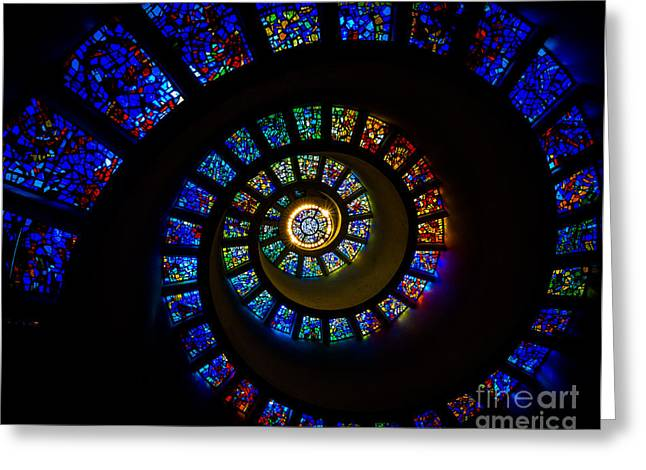Thanksgiving Greeting Cards - Spiritual Spiral Greeting Card by Inge Johnsson