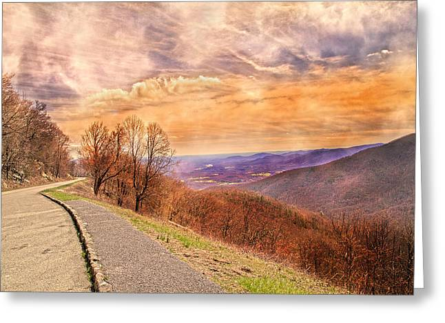 Tranquil Moments Greeting Cards - Spiritual Sunset Blue Ridge Parkway Greeting Card by Betsy A  Cutler