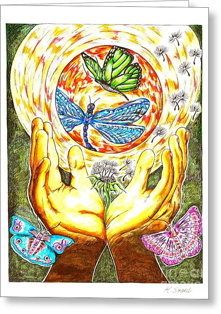 Engulfing Greeting Cards - Spiritual Surroundings Greeting Card by Karen Sirard
