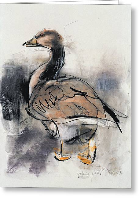 Market Photographs Greeting Cards - Spitalfields Goose, 1997 Graphite And Conte On Paper Greeting Card by Mark Adlington