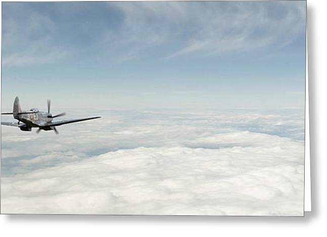Trio Digital Greeting Cards - Spitfire Ace Greeting Card by J Biggadike