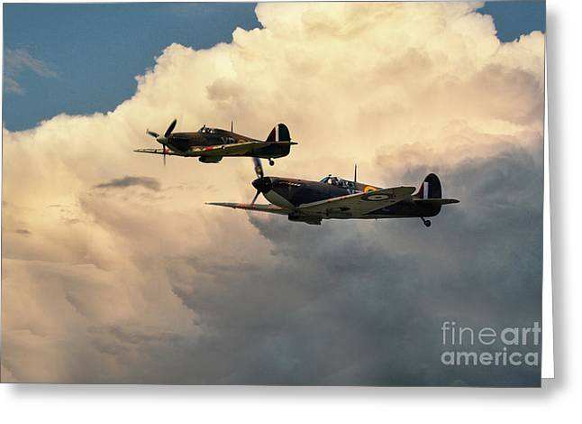 Spitfire Greeting Cards - Spitfire and Hurricane  Greeting Card by J Biggadike