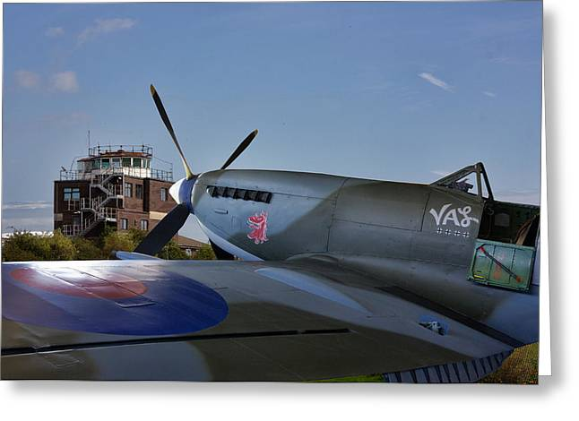 Spitfire At Raf Manston  Greeting Card by Thanet Photos